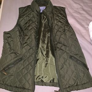 Army green quilted fleece vest